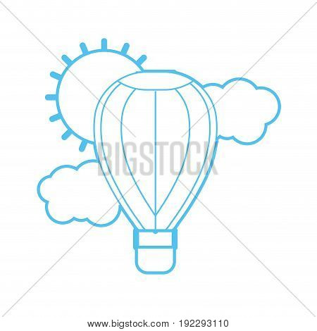 silhouette air balloon in the sky with clouds and sun vector illustration