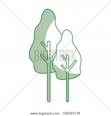 silhouette natural trees with botany icons vector illustration