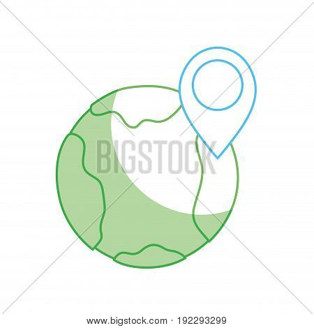 silhouette earth planet with point with location vector illustration