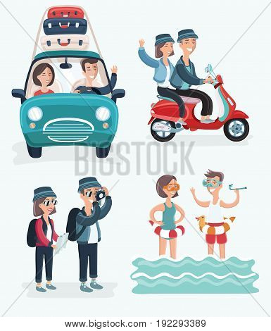 Vector cartoon cute illustration of young couple on vacation. Travel on car, travel by scooter, sviming, tackig photo. Isolated on white background