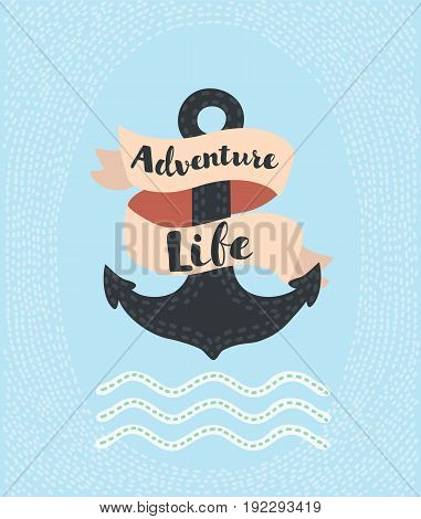 Vector cartoon illustration of vintage anchor illustration decoration with ribbon with message Adveture time and waves for your poster, t-shirt, apparel, greeting card and print etc.