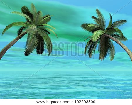 Palm trees in front of the sea by beautiful day - 3D render