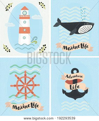 Vector set of greeting marine cards and sea elements collection illustrations. Vintage style: lighthouse, whale, wheel and anchor. Element for print. tsirts and your design