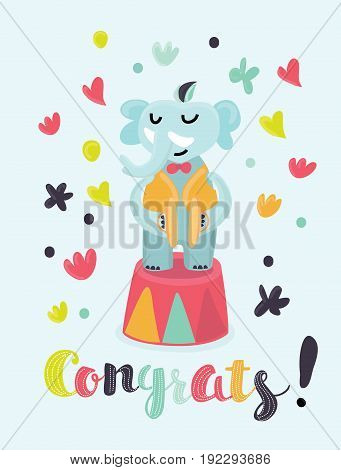Vector congratulations card with circus musician elephant play cymbals. Lettering in color letters Congrats!