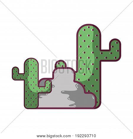 cactus plan with trees and ecological element vector illustration