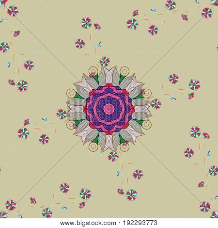 Traditional indian style ornamental floral elements for henna tattoo colored stickers flash temporary tattoo mehndi and yoga design cards and prints. Vector sketch of colored mehndi mandala on.