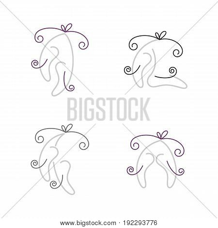 Set of designed in outline style  ballet shoes images.
