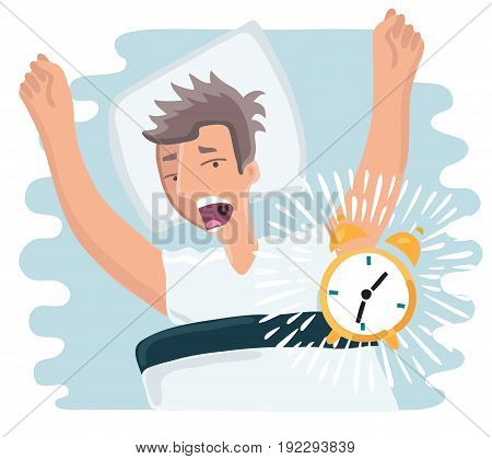Vector cartoon illustration of slept through man woke up, the alarm clock is ringing, man screaming