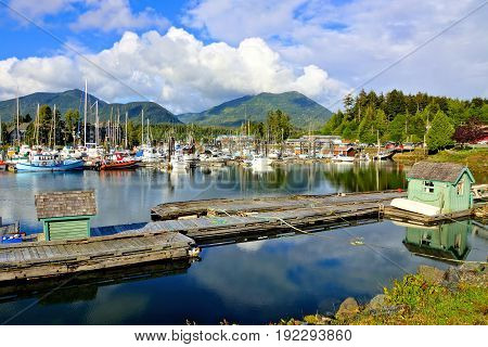 Beautiful Ucluelet Harbour Pacific Coast Vancouver Island BC Canada
