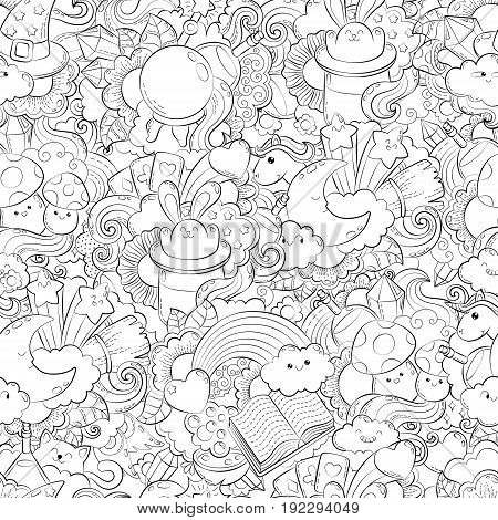 Vector hand drawn path, potion, magic, tricks, cards, hat, cloud, heart stars illustration for adult coloring book