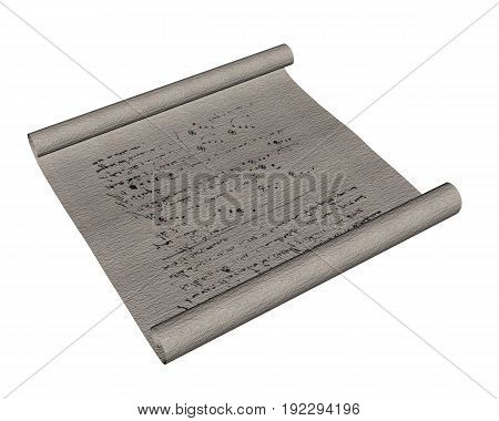 Magic scroll isolated in white background - 3D render