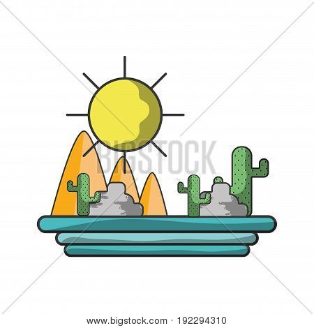 mountains with cactus and plants with sun vector illustration