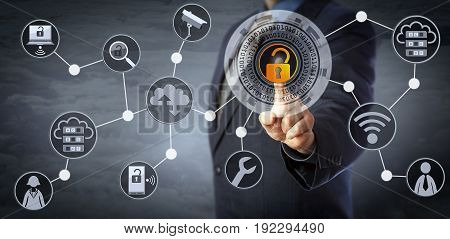 Blue chip manager is unlocking a virtual locking mechanism to access shared cloud resources. Internet concept for identity & access management cloud storage cybersecurity and managed services.