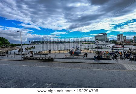 Cardiff Bay Cardiff Wales - May 20 2017: View of Cardiff Bay in early summer.