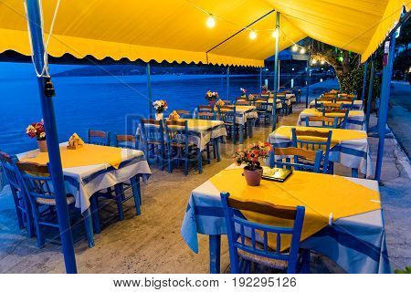 Traditional restaurant by the sea in the village of Milina, near Mt Pelion, in Thessaly, Greece