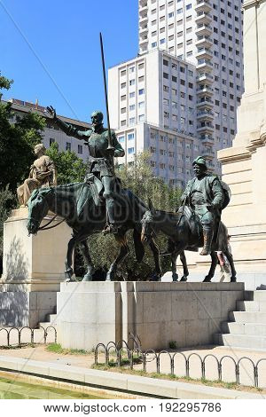 MADRID, SPAIN - MAY 24, 2017: It is a monument to the famous literary characters Don Quixote and Sancho Panza.