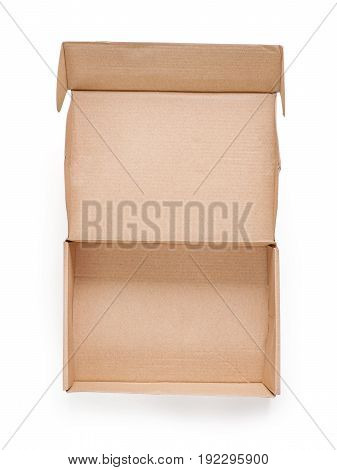 Open rough cardboard box. Isolated on white clipping path included. Top view