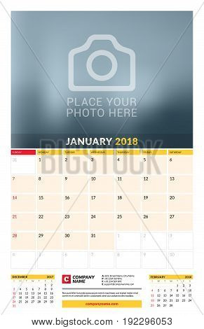 Vector Calendar Planner Template For 2018 Year. January. Vector Design Print Template With Place For