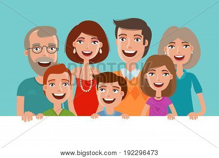 Happy cheerful family, banner. People, children and parents concept. Vector illustration