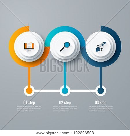 Vector for infographic. Template for cycle diagram, graph, presentation and round chart. Business concept with 3 options, parts, steps or processes. Data visualization.