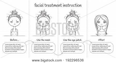 Cute Facial treatment monochrome 4th steps instruction, girl and panda. Vector illustration. black and white