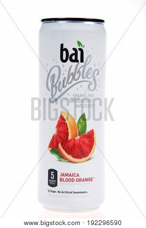 Alameda CA - January 29 2017: One 11.5 ounce can of Bai brand antioxidant infusion Jamaica Blood Orange flavored water isolated on a white background with reflection.
