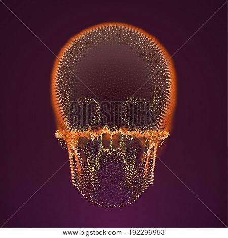 Vector skull hologram. Digital danger. Futuristic technology virus illustration. hacker avatar