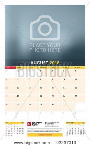 Vector Calendar Planner Template For 2018 Year. August. Vector Design Print Template With Place For