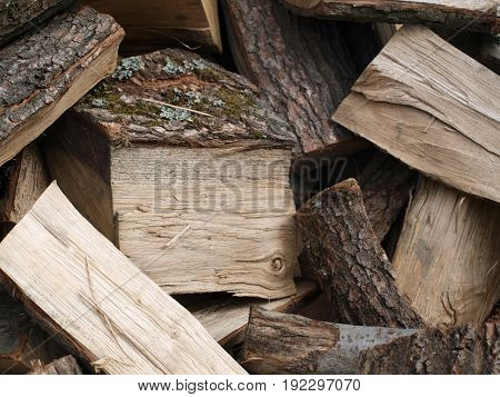 Heap of chopped wood prepared for fire