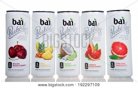 Alameda CA - January 29 2017: Cans of Bai brand antioxidant infusion flavored waters isolated on white. Bai Brands is a beverage company founded in 2009 in Princeton New Jersey
