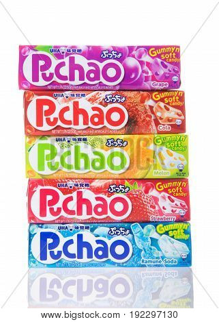 Alameda CA - February 05 2017: Five 1.76 oz packs of Puchao brand Gummy n soft candy. Puccho is a chewy Japanese confectionery made and sold by UHA Mikakuto