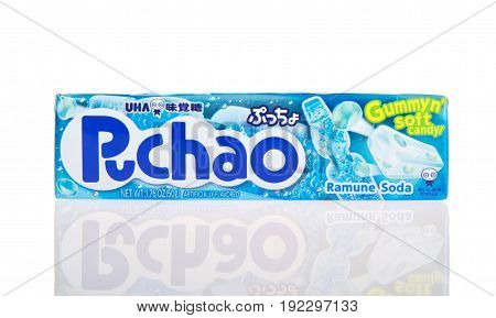 Alameda CA - February 05 2017: 1.76 oz pack of Puchao brand Gummy n soft candy. Ramune Soda flavor. Puccho is a chewy Japanese confectionery made and sold by UHA Mikakuto