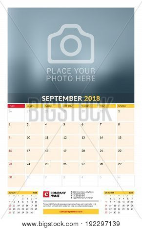 Vector Calendar Planner Template For 2018 Year. September. Vector Design Print Template With Place F