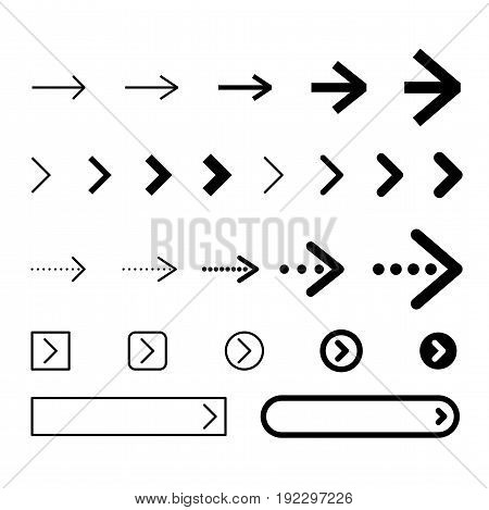 Set of arrows vector illustration. Outline and filled icons, buttoins with arrow.