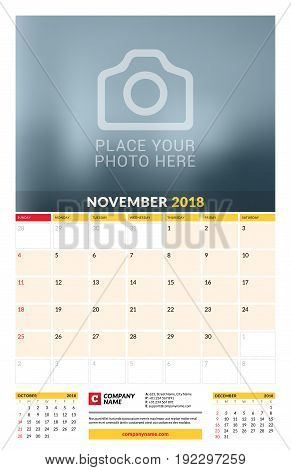 Vector Calendar Planner Template For 2018 Year. November. Vector Design Print Template With Place Fo