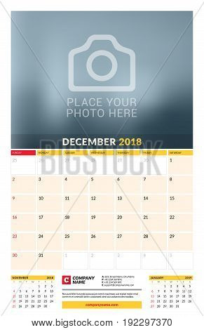 Vector Calendar Planner Template For 2018 Year. December. Vector Design Print Template With Place Fo