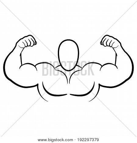 Bodybuilder with muscle flex arm vector illustration.