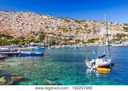 Sailing Yacht Moored In Agios Nikolaos Bay