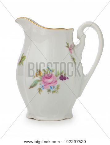 Vintage Czech Porcelain Creamer, Old Style Rich Decorated By Flower Decors Isolated On A White Backg