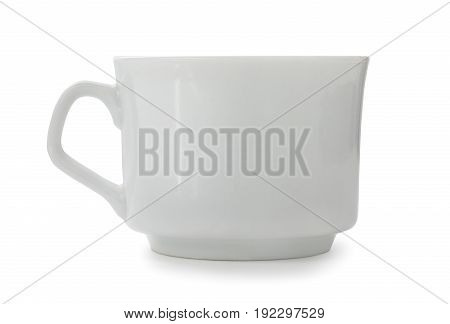 Empty Porcelain Coffee Cup Isolated On A White Background. Side View, Low Angle.