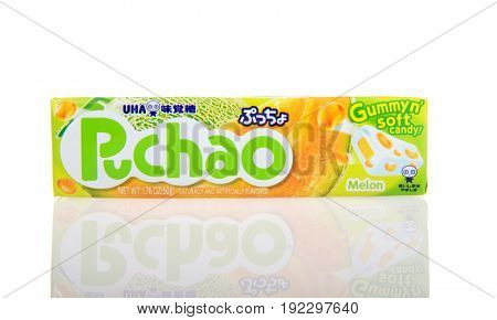 Alameda CA - February 05 2017: 1.76 oz pack of Puchao brand Gummy n soft candy. Melon flavor. Puccho is a chewy Japanese confectionery made and sold by UHA Mikakuto