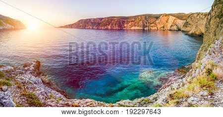 Mediterranean bay at sunset in Assos, Kefalonia - Greece