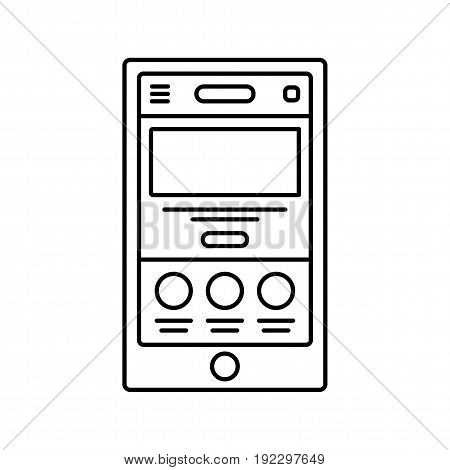 Mobile website wireframe lined icon. Landing page line icon. Web page in browser window.