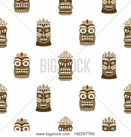 Wooden tiki mask seamless pattern vector. Hawaiian culture brown and white background.