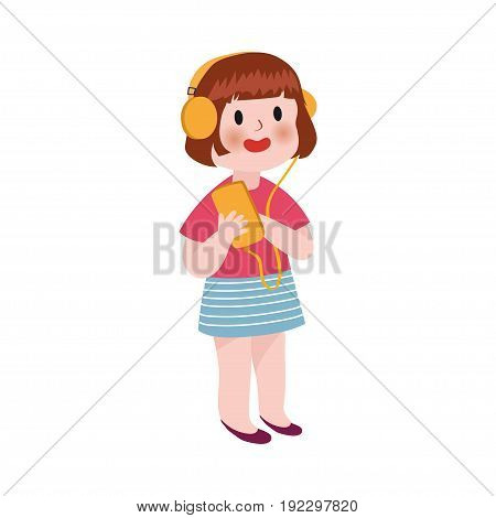 Cute cartoon little girl listening music in headphones colorful character vector Illustration isolated on a white background