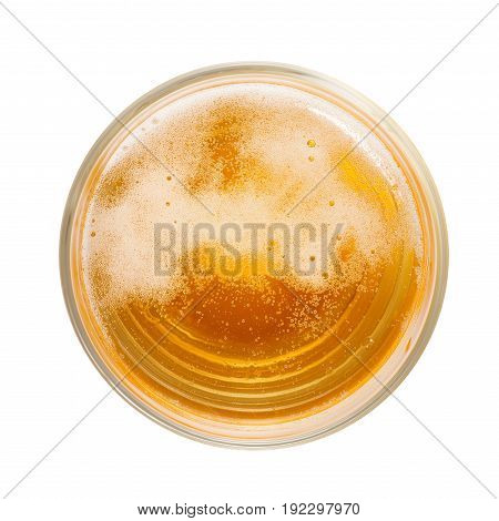 Top view of amber colored beer with foam and bubbles in simple glass. Isolated on white with clipping path