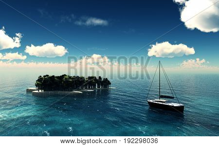 Paradise island over a blue sky with yacht. 3D illustration