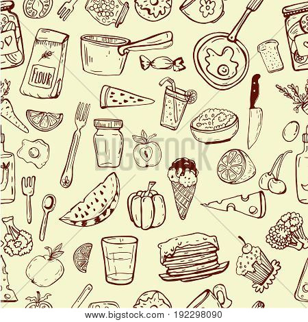 Cooking utensil line icons seamless pattern.Linear design background. Pattern for your design