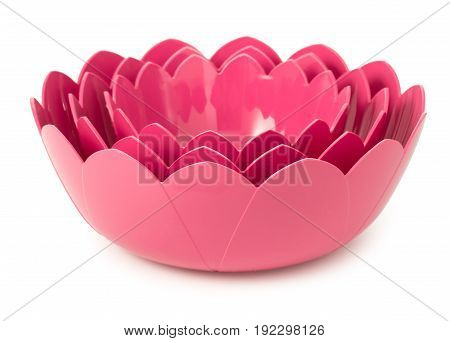 Set Of 3 Pink Plastic Bowls Made In Shape Of Flowers Of Lotus Isolated On A White Background.