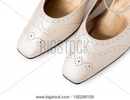 Pair Of Fashion Beige Women's Shoes Isolated On A White Background. Genuine Leather, Vintage Style.